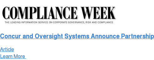 Concur and Oversight Systems Announce Partnership Article Learn More