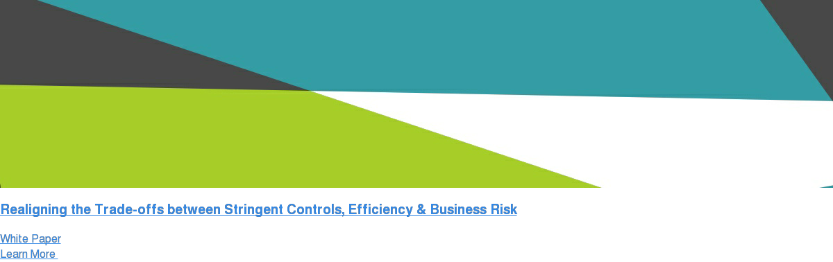 Realigning the Trade-offs between Stringent Controls, Efficiency & Business  Risk White Paper Learn More