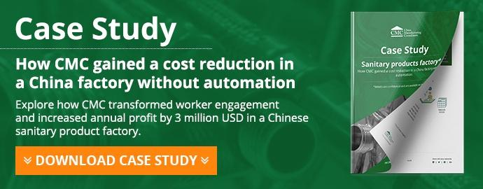 How CMC gained a cost reduction in a China factory without automation Case study
