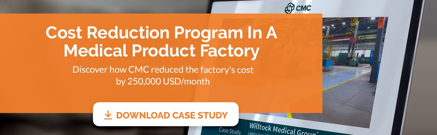 CTA banner for case study on cost reduction in a medical product factory