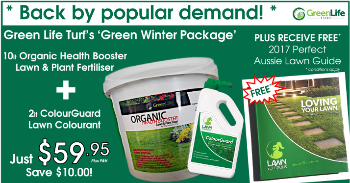 Green Winter Package | Organic Fertiliser + ColourGuard Lawn Colourant + Loving Your Lawn 2017 Perfect Aussie Lawn Guide Limited Time