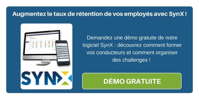 Augmentez le taux de rétention de vos employés avec SynX ! Demandez une démo gratuite de notre logiciel SynX: découvrez comment former vos conducteurs et comment organiser des challenges !