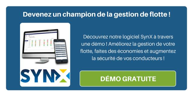 Devenez un champion de la gestion de flotte ! Découvrez notre logiciel SynX à travers une démo! Améliorez la gestion de votre flotte et faites des économies.