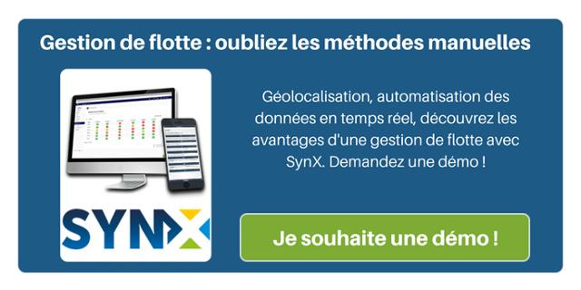 Gestion de flotte : oubliez les méthodes manuelles. Géolocalisation, automatisation des données en temps réel, découvrez les avantages d'une gestion de flotte avec SynX. Demandez une démo !