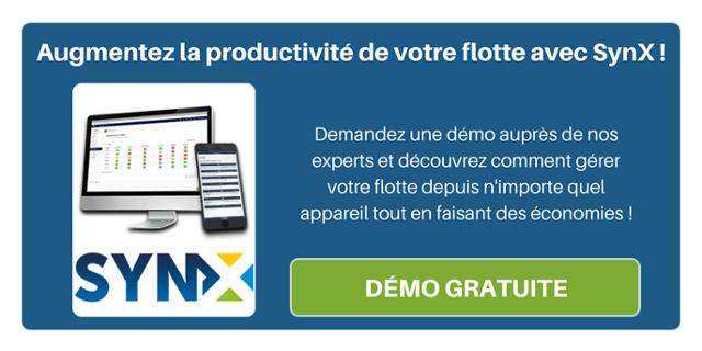 Augmentez la productivité de votre flotte avec SynX ! Demandez une démo auprès de nos experts et découvrez comment gérer votre flotte depuis n'importe quel appareil tout en faisant des économies !
