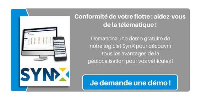 Conformité de votre flotte : aidez-vous de la télématique ! Demandez une démo gratuite de notre logiciel SynX pour découvrir tous les avantages de la géolocalisation pour vos véhicules !