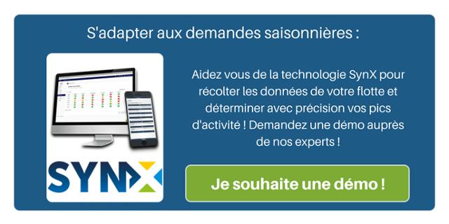 S'adapter aux demandes saisonnières : aidez vous de la technologie SynX pour récolter les données de votre flotte et déterminer avec précision vos pics d'activité ! Demandez une démo auprès de nos experts !