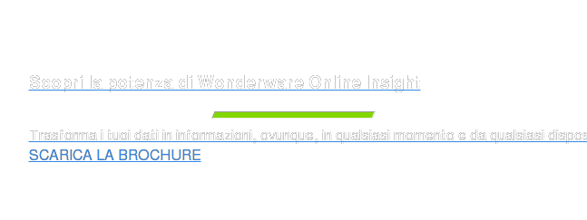 Scopri la potenza di Wonderware Online Insight  Trasforma i tuoi dati in informazioni, ovunque, in qualsiasi momento e da  qualsiasi dispositivo SCARICA L'INFOGRAPHIC