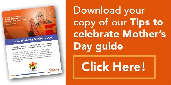 """image of the Tips to celebrate Mother's day guide along with some copy saying """"Download your copy of our Tips to celebrate Mother's day guide"""" and accompany with a """"Click Here!"""" button."""