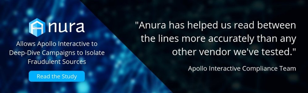 Anura allows Apollo Interactive to deep-dive campaigns to isolate fraudulent sources. Click here to read the report.