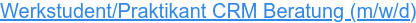 Werkstudent/Praktikant CRM Beratung (m/w)