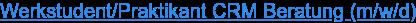 Werkstudent/Praktikant CRM Beratung (m/w/d)