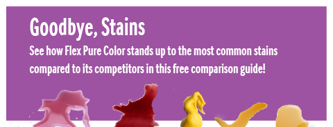 Flex Pure Color Stain Relief Technology paint comparison