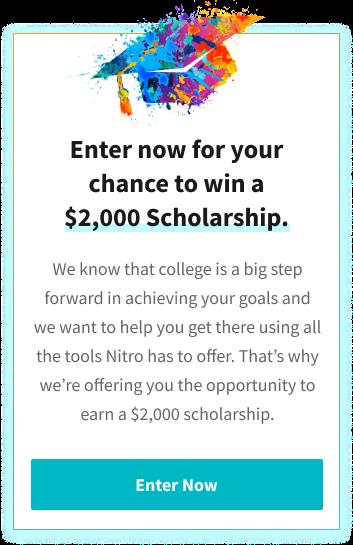 Apply for a $2000 scholarship from Nitro