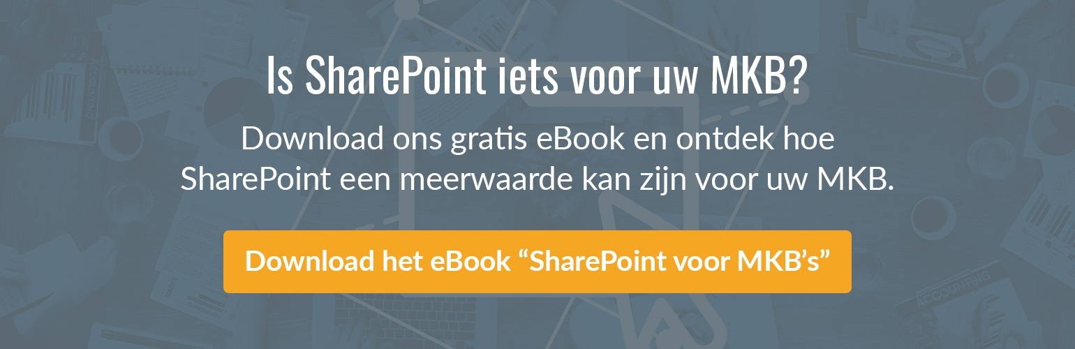 "Download het gratis ""SharePoint voor KMO's"" eBook."