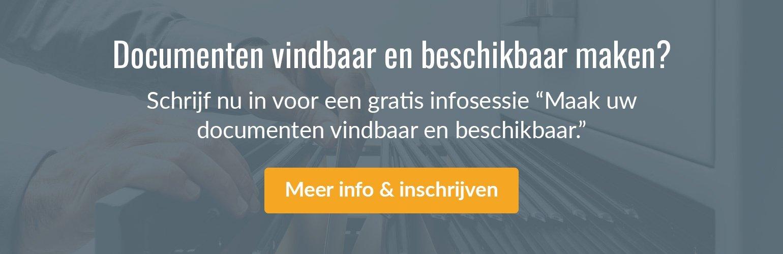 """Inschrijven voor een gratis infosessie """"Maak uw documenten vindbaar en beschikbaar."""""""
