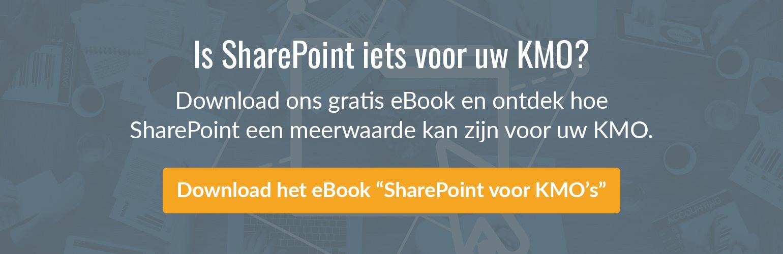 """Download het gratis """"SharePoint voor KMO's"""" eBook."""