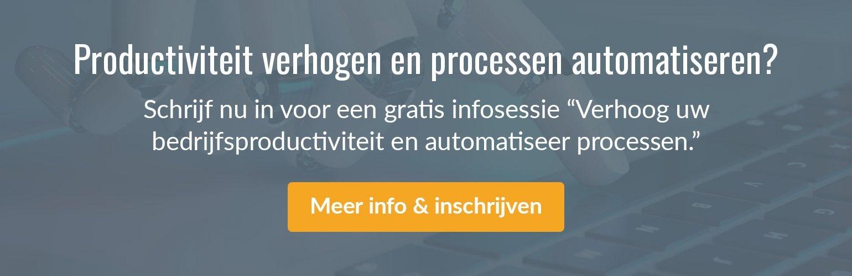 """Inschrijven voor een gratis infosessie """"Verhoog uw bedrijfsproductiviteit en automatiseer processen."""""""