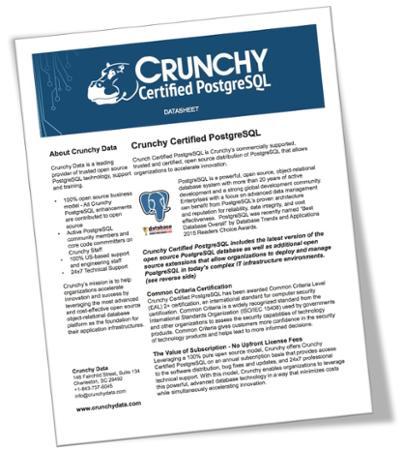Datasheet for Crunchy Certified PostgreSQL
