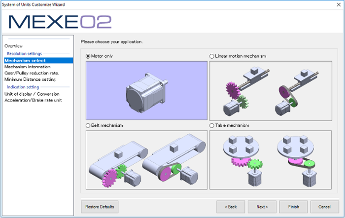 MEXE02 support software