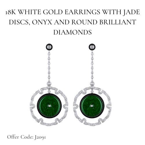 Jadeite and diamonds oriental pendant earrings | Facets Singapore