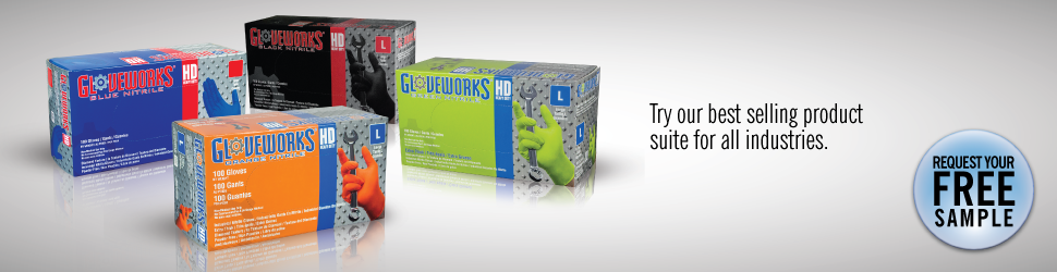 Gloveworks raised diamond texture disposable gloves free sample