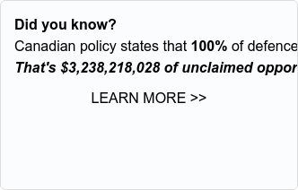 Did you know?  Canadian policy states that 100% of defence investments must go back to  Canadian businesses.  That's $3,735,199,162 of unclaimed opportunities.  Learn more >>