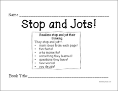 Stop and Jots Worksheet