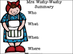 Mrs. Wishy-Washy Story Summary Chart