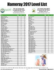 2016 Hameray Level List