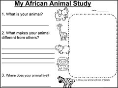 African Animals Unit Sheets Download