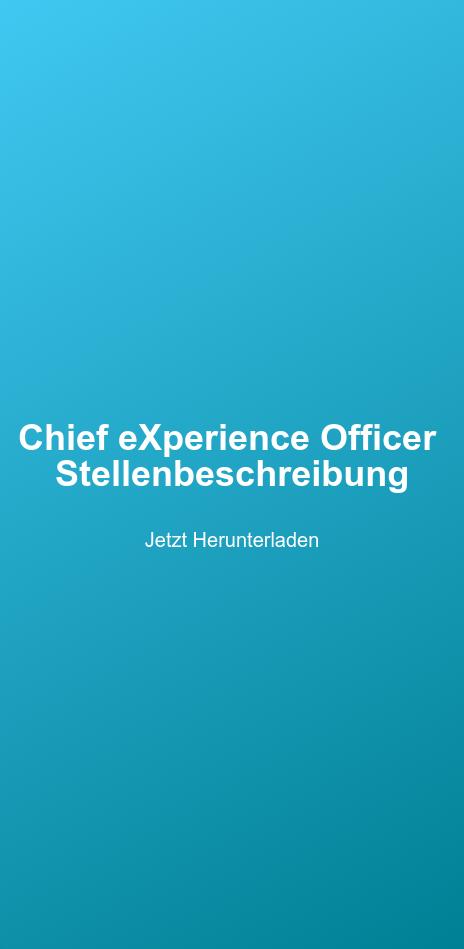 Chief eXperience Officer   Stellenbeschreibung  Jetzt Herunterladen