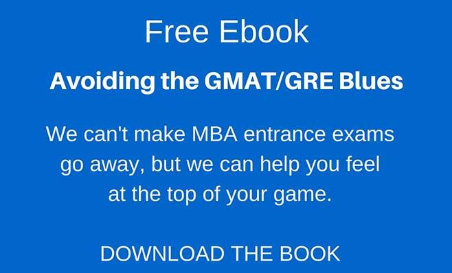 Clickable image leading to request form for Avoiding the GMAT Blues ebook