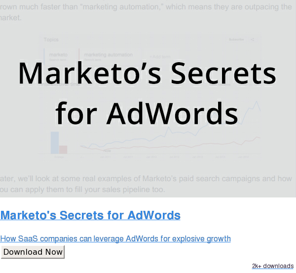 Marketo's Secrets for AdWords  How SaaS companies can leverage AdWords for explosive growth Download Now 2.1k downloads