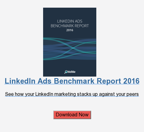 LinkedIn Ads Benchmark Report 2016  See how your LinkedIn marketing stacks up against your peers    Download Now