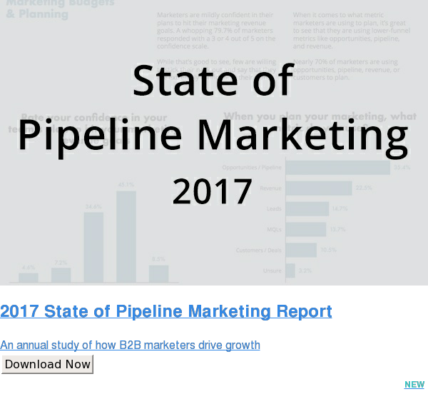2017 State of Pipeline Marketing Report  An annual study of how B2B marketers drive growth Download Now NEW