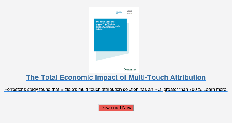 The Total Economic Impact of Multi-Touch Attribution  Forrester's study found that Bizible's multi-touch attribution solution has an  ROI greater than 700%. Learn more.    Download Now