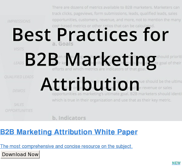 B2B Marketing Attribution White Paper  The most comprehensive and concise resource on the subject. Download Now NEW