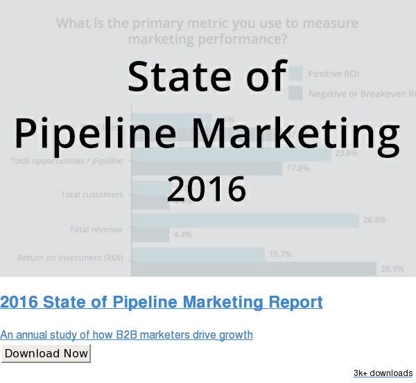 2016 State of Pipeline Marketing Report  An annual study of how B2B marketers drive growth Download Now 2.5k downloads