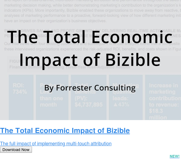 The Total Economic Impact of Bizible  The full impact of implementing multi-touch attribution Download Now NEW!