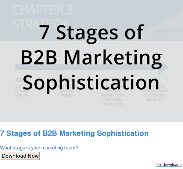 7 Stages of B2B Marketing Sophistication  What stage is your marketing team? Download Now 1k downloads