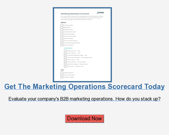 Get The Marketing Operations Scorecard Today  Evaluate your company's B2B marketing operations. How do you stack up?    Download Now