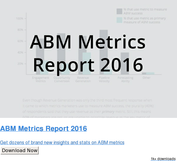 ABM Metrics Report 2016  Get dozens of brand new insights and stats on ABM metrics Download Now 762 downloads