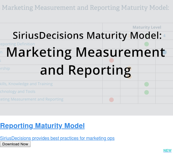 Reporting Maturity Model  SiriusDecisions provides best practices for marketing ops Download Now NEW