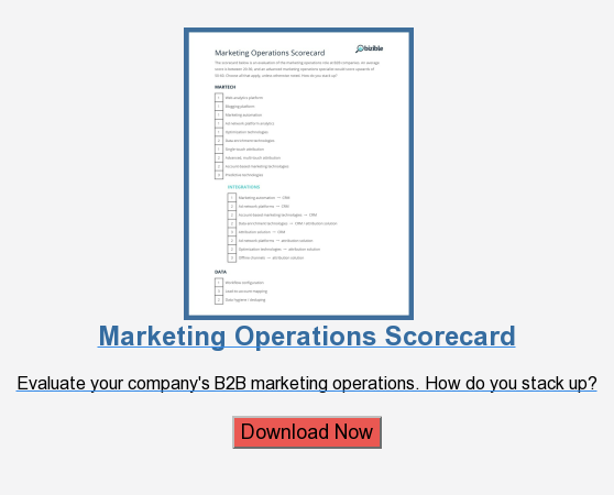Marketing Operations Scorecard  Evaluate your company's B2B marketing operations.How do you stack up?  Download Now