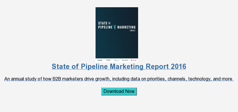 2015 State of Pipeline Marketing  Get the inside look on sales alignment, attribution, top channels, and more.  Download Now