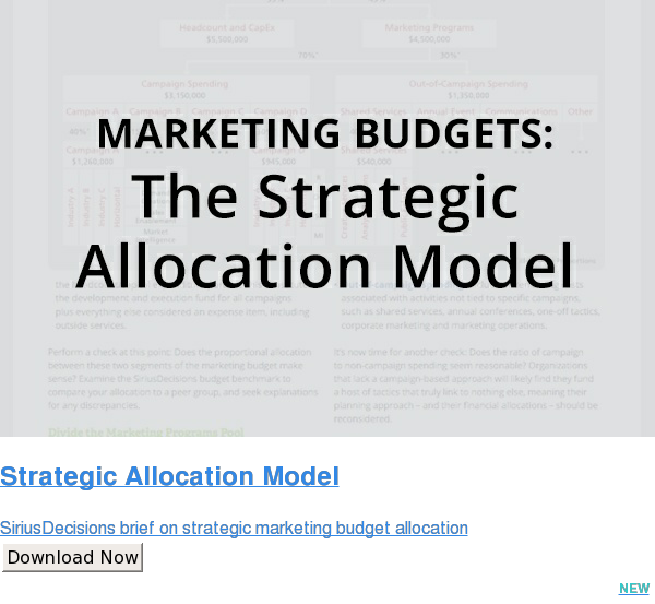Strategic Allocation Model  SiriusDecisions brief on strategic marketing budget allocation Download Now NEW