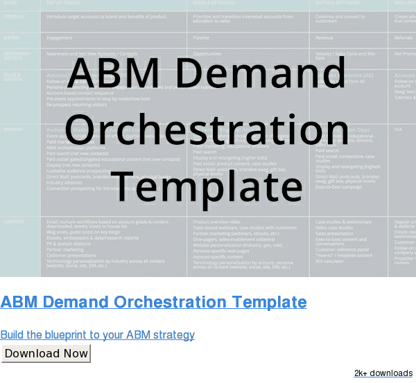 ABM Demand Orchestration Template  Build the blueprint to your ABM strategy Download Now 2k+ downloads