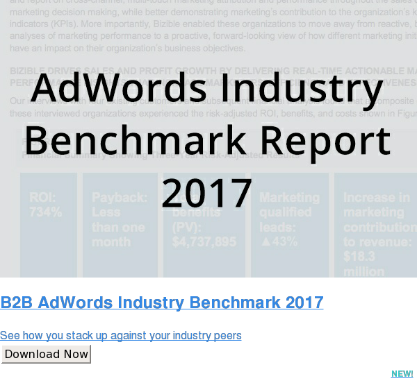 B2B AdWords Industry Benchmark 2017  See how you stack up against your industry peers Download Now NEW!