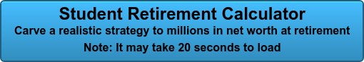 Student Retirement Calculator Carve a realistic strategy to millions in net worth at retirement Note: It may take 20 seconds to load